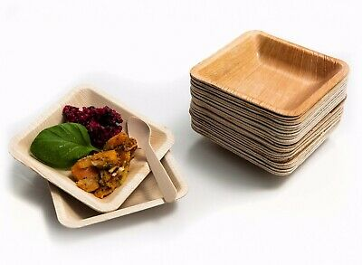25 X Disposable Square Plates 11x11cm Natural Palm Leaf  Bamboo Wedding BBQ