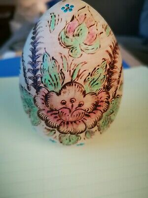 Antique Russian Wooden Egg  Folk Art Hand Carved Hand Painted