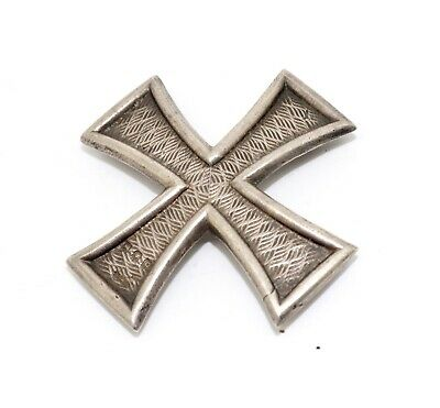 A Rare Antique Art Deco 1918 Sterling Silver Military Cross Badge Brooch #14937