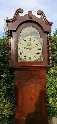 Antique longcase clock 18th c, 226cms tall, working, reasonable offers welcome.