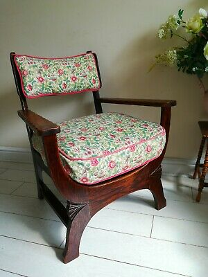 Rare Antique Arts & Crafts Oak Chair Liberty Style X frame bentwood Unique.