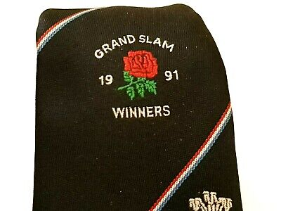 ENGLAND GRAND SLAM WINNERS 1991 Rugby Club Tie Blue Polyester Vintage T47