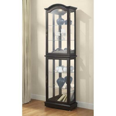 Floor Standing Walnut Lighted Curio Display Cabinet Walnut Adjustable Shelves