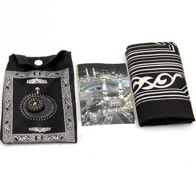 Travel Portable Pocket Prayer Mat Rug With Qibla Kaaba Compass Pouch In U5A D3S9