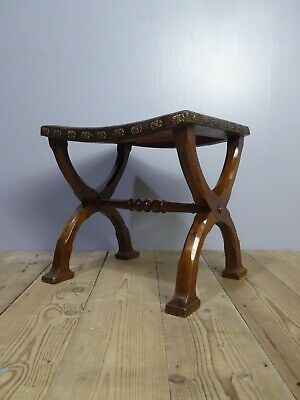 Rare Antique Pugin Style Victoraian Gothic Revival Leather Stool Vintage