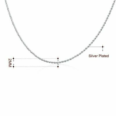 Plated White Gold Cut Italian Rope Diamond Chain Silver 2MM Necklace 18K Italy