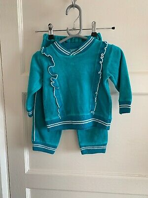 Vintage Green Velour 1980s Toddler Girls Tracksuit 12-18 Months Bhs