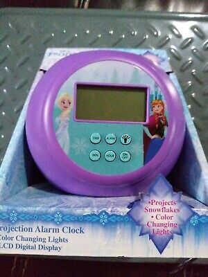 Disney Frozen Projection Alarm Clock Color Changing Lights LCD Display NEW