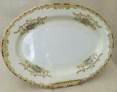 "Renwick RNW4 (Japan) 12"" Oval Serving Platter Red, Tan Floral & Scroll Gold Trim"