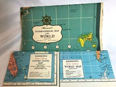 Hammond's Lot of 3 Vintage Home Library Maps: 2 World Maps & 1 United States Map