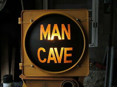 """""""MAN CAVE"""" Authentic McCain Wired Poly Stop Light Traffic Signal Painted Lens"""