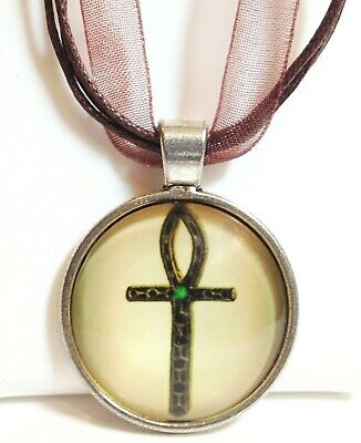 ANKH_Glass Dome Pendant on Brown Ribbon Necklace_Egyptian Ancient Luck Silver