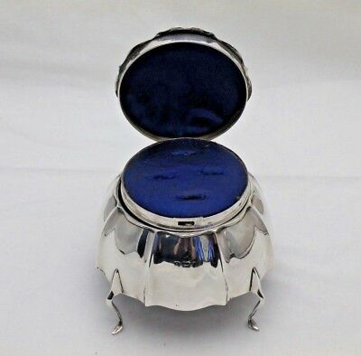 Antique Very Unusual Sterling Solid Silver Jewellery & Ring Box (1045-9-VOS)