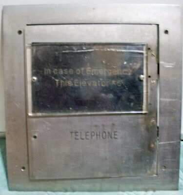 Vintage SS Elevator Emergency Telephone Box Panel Frame Door, hinged