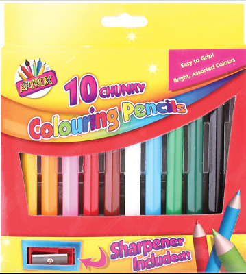 Artbox 1/2 Size Chunky Colouring Pencils 10 Assorted Colours With Sharpener PJ