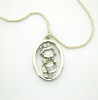 #9024- Retired James Avery Little Drummer Boy Sterling Silver Pendant - Necklace