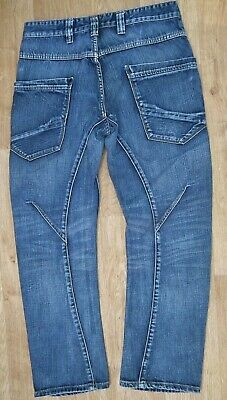 "NEXT Men Boys Twist Blue Denim Curved Leg Button Fly Jeans Size 32S W32"" L28"""