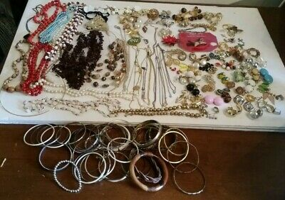 Vintage Costume Jewelry Lot Junk Drawer Estate Sale Matched Earrings Necklace