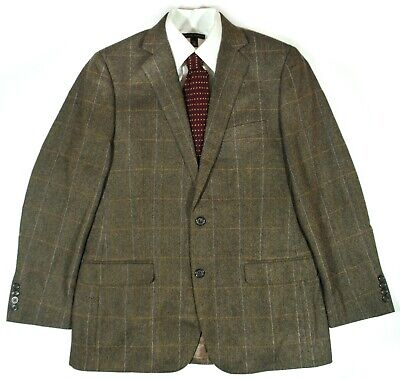 Brooks Brothers Fitzgerald Cashmere Blend Sport Coat in Tan Windowpane Size 40R