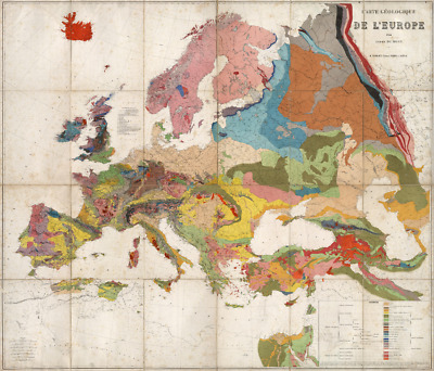 Geology of Europe 1875 (Huge PDF File) Antique Map National Geographic Quality