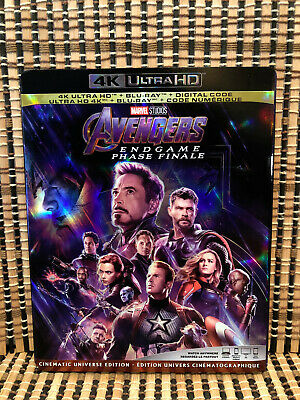Avengers 4: Endgame 4K (3-Disc Blu-ray, 2019)+Slipcover.Marvel.Captain America