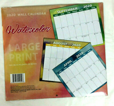 """LARGE PRINT 2020 Wall Calendar - Easy to Read 12x12"""" (Opened 24x12"""")"""