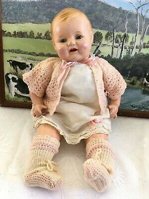 """EFFANBEE STYLE 1930s ANTIQUE COMPOSITION 19"""" DOLL DIMPLES GIGGLES BUBBLES LOVEMS"""