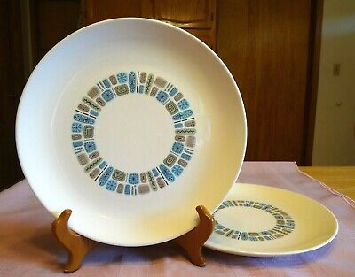 "2 Vtg CANONSBURG POTTERY Temporama DINNER PLATES 10"" Dura-Gloss ATOMIC Retro"