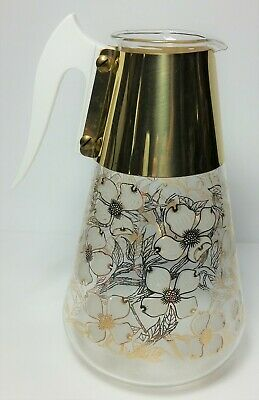 Mid Century Glass Coffee Carafe Vintage Fred Press Gold White dogwood floral