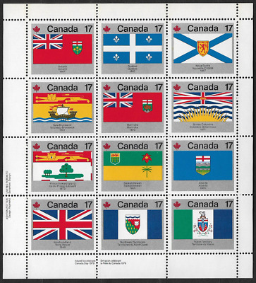 Canada - Pane of 12 LLL - Provincial & Territorial Flags #832a (821@832) - MNH
