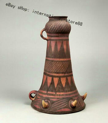 """12.8"""" Old Chinese Neolithic Hongshan Dadiwan Pottery musical instrument trumpet"""