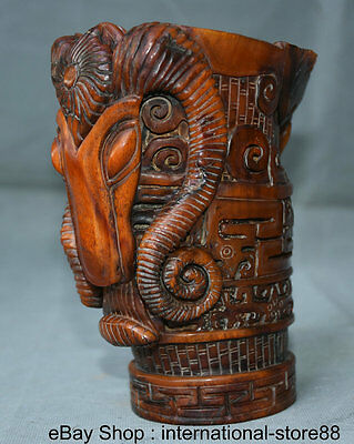 """6"""" Marked Old Chinese Dynasty Ox Horn Palace Sheep Goat Head Horn Cup Sculpture"""