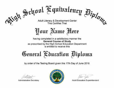 GED / High School Diploma re-placement in PDF& JPG