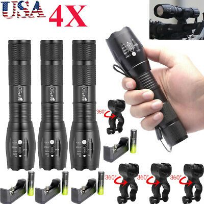 4Sets 50000LM 5 Modes T6 LED Flashlight Lamp+Torch Holder+18650 Battery+Charger