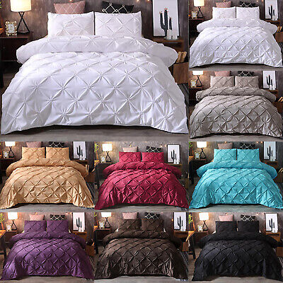 Pintuck Cotton Quilt Duvet Cover Pillow Case Bedding Set Single Double King Size