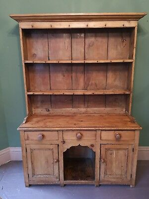 Antique Early Victorian Two Piece Pine Country Dog Kennel Dresser - Can Deliver
