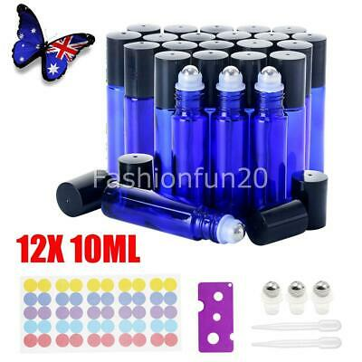 12PCS 10ml Roller Bottles Blue THICK Glass Steel Roll on Ball for Essential Oils