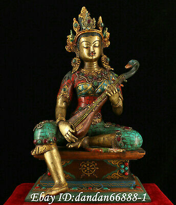 Chinese old Bronze inlay colour jewel turquoise Wonderful sound Guanyin statue