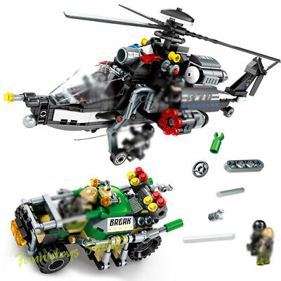 SWAT City Police Helicopter Bricks Mini Figures fit lego Harry Potter Army Men