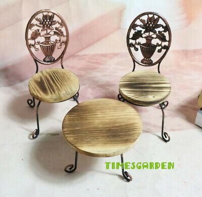 dollhouse miniatures furniture 1: 6  Steel Wood Metal Table Stand + 2 chairs
