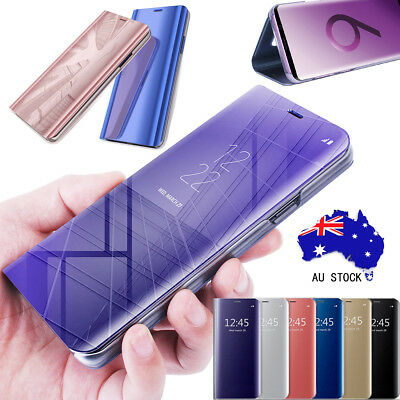 For Samsung Galaxy S10 S9 S8 Plus Note 9 Smart Mirror View Flip Case Stand Cover