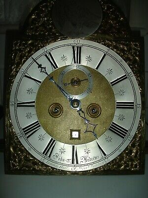 Antique 8 Day Brass Arch And Brass Square Longcase Clock Movement John Andrews