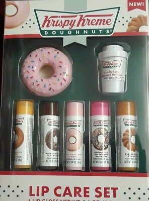 KRISPY KREME DOUGHNUTS LIP CARE SET/6 x LIP BALM & 1x LIP GLOSS