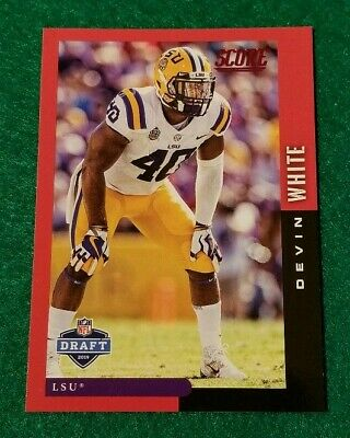 2019 Score NFL Draft Red Parallel, Devin White #DFT-20, Tampa Bay Buccaneers