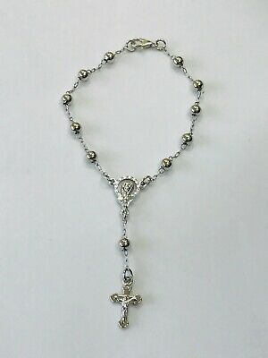 Rosary Of Metal Beads And Crucifix in Silver  bracelet