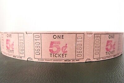 Vintage Roll of 5¢ Raffle Tickets from Globe Ticket Company/Full Roll Never Used