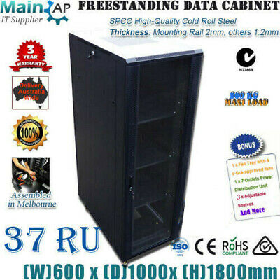"37U 37RU 19"" 19 inch 1000mm SERVER CABINET DATA RACK 4 FANS 7 WAY PDU fo network"