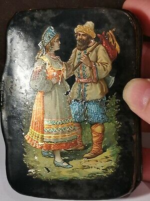 Antique 19th Russian Black Lacquer Papier Mache Snuff Box Couple