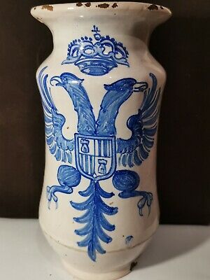 Antique 17th / 18th Century Spanish Faience Albarello Apothecary Jar