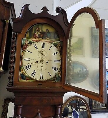 19th century Oak Longcase,Grandfather Clock enamel painted face(Bathgate)